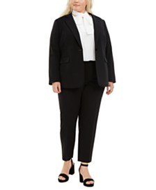 Bar III Plus Size One-Button Jacket, Tie-Neck Blouse & Ankle Pants, Created for Macy's
