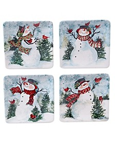 Watercolor Snowman 4-Pc. Canape Plate