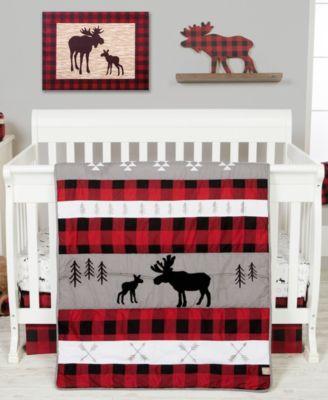 Lumberjack Moose 3-Piece Crib Bedding Set