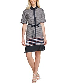 Elbow-Sleeve Printed Shirtdress