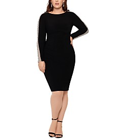XSCAPE Plus Size Embellished-Mesh-Sleeve Dress