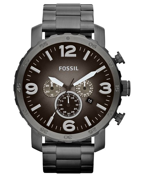 21cc54673e4 ... Fossil Men s Chronograph Nate Smoke Tone Stainless Steel Bracelet Watch  50mm JR1437 ...