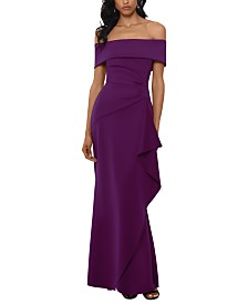 XSCAPE Petite Off-The-Shoulder Ruffled Gown