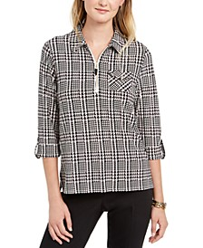 Glenn Plaid Quarter-Zip Top