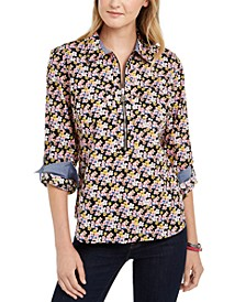 Printed Zip-Neck Popover Top, Created for Macy's
