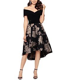 XSCAPE Petite Off-The-Shoulder Fit & Flare Dress