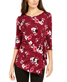 Printed 3/4-Sleeve Asymmetric Top, Created for Macy's