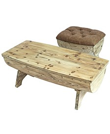 Vintage-like Wooden Wine Barrel Storage Bench and Coffee Table, Set of 2
