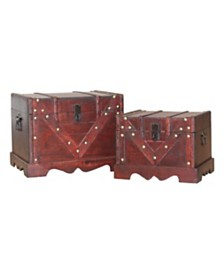 Vintiquewise Wooden Treasure Box, Old Style Decorative Treasure Chest, Set of 2