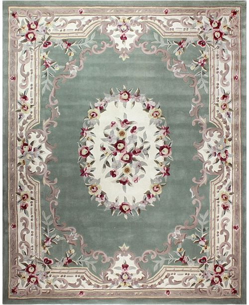 KM Home Palace Garden Aubusson Sage Area Rug Collection