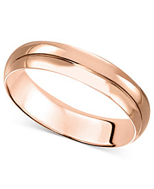 14k Rose Gold Ring, 4mm Wedding Band