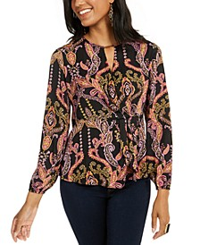 Printed Ruffled Keyhole Top, Created for Macy's