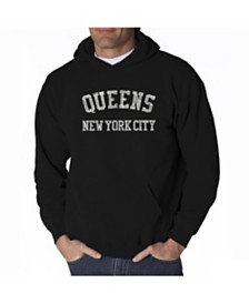 LA Pop Art Men's Word Art Hoodie - Queens NY Neighborhoods