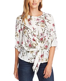 Vince Camuto Printed Tie-Front Top