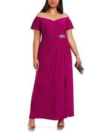 Alex Evenings Plus Size Off-The-Shoulder Gown