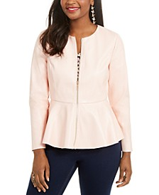 Faux-Leather Peplum-Hem Jacket, Created for Macy's