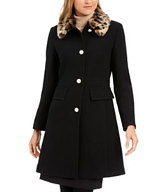 kate spade new york Leopard-Print Faux-Fur-Collar Coat