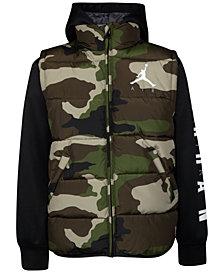 Jordan Big Boys Layered-Look Hooded Puffer Jacket, Created For Macy's