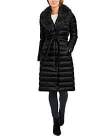 Belted Faux-Fur-Collar Down Puffer Coat