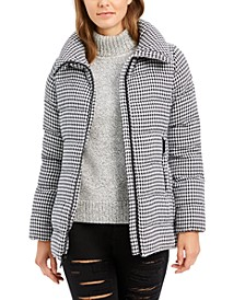 Houndstooth Puffer Coat