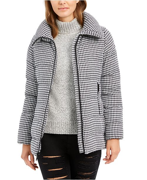 BCBGeneration Houndstooth Puffer Coat