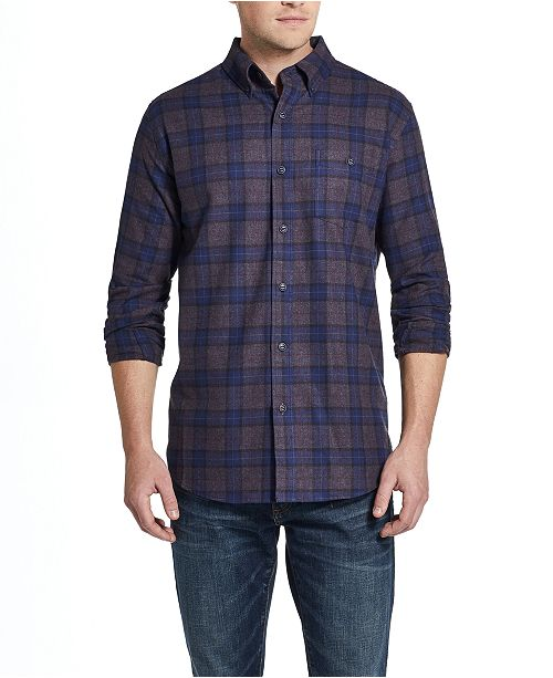 Weatherproof Vintage Men's Brushed Flannel Plaid Shirt