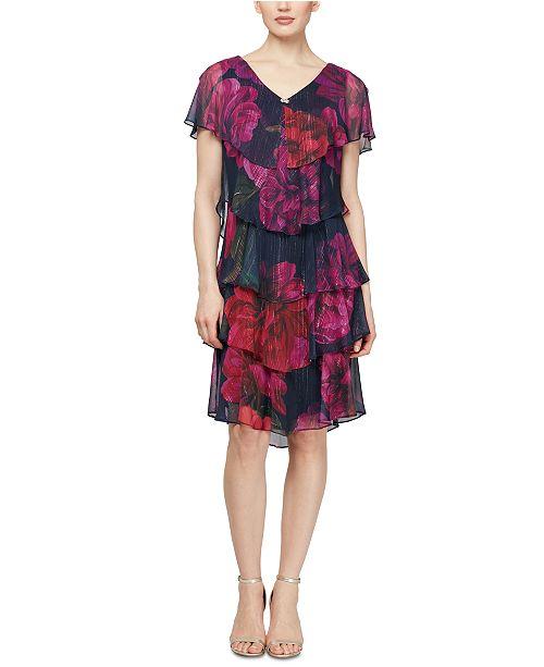 SL Fashions Petite Floral-Print Chiffon Dress