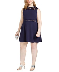 Trendy Plus Size Lace-Trim A-Line Dress