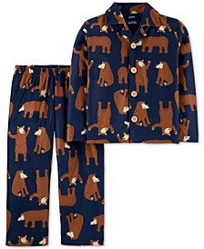 Toddler Boys 2-Pc. Bear-Print Fleece Pajama Set