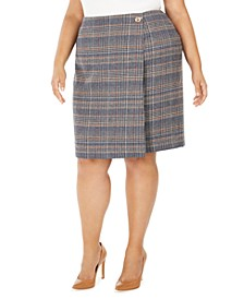 Plus Size Plaid Tweed Pencil Skirt