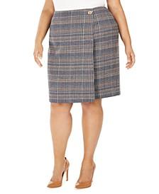 Plus Size Plaid Tweed Pencil Skirt