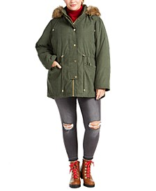 Juniors' Plus Size Faux-Fur Trim Hooded Parka Coat
