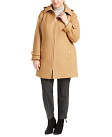 Michael Michael Kors Plus Size Hooded Stand-Collar Coat, Created for Macy's