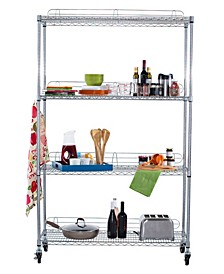 Ecostorage 4-Tier Wire Shelving Rack with NSF Include Wheels and Back Stands