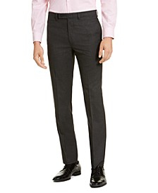 Men's Slim-Fit Stretch Mini-Grid Dress Pants