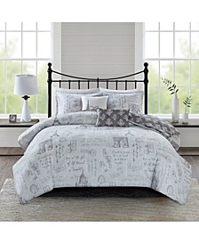 Marseille Full/Queen 5 Piece Reversible Paris Print Duvet Cover Set