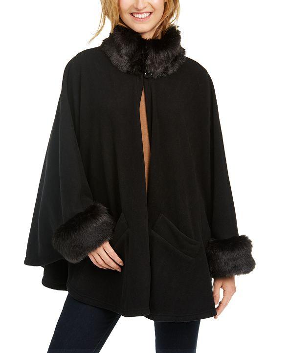 Cejon Lux Fleece Cape With Faux-Fur Trim