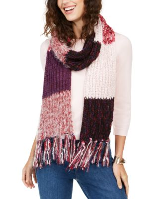 INC Colorblocked Fringe Muffler Scarf, Created for Macy's