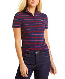Lacoste Striped Five-Button Logo Polo Shirt