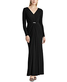 Georgette-Overlay Jersey Gown, Created For Macy's