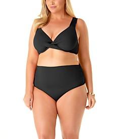Plus Size Twist-Front Underwire Bikini Top & High-Waist Bikini Bottoms