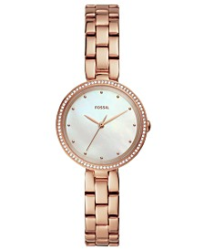 Fossil Women's Maxine Rose Gold-Tone Stainless Steel Bracelet Watch 30mm