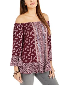 Style & Co Petite On-Or-Off-Shoulder Ruffle Blouse, Created for Macy's
