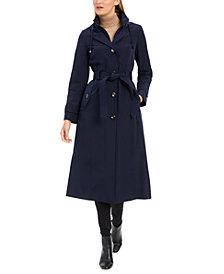 London Fog Maxi Single Breasted Hooded Raincoat