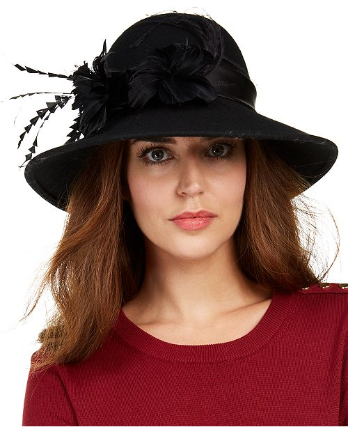 Josette Feather Felt Downbrim Cloche