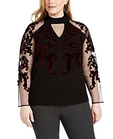 INC Plus Size Velvet-Flocked Mesh-Sleeve Sweater, Created for Macy's