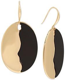Gold-Tone Colorblock Disc Drop Earrings