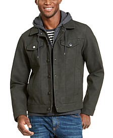 Men's Faux Leather Hooded Trucker Jacket, Created For Macy's