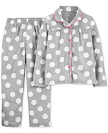 Little & Big Girls 2-Pc. Dot-Print Fleece Pajama Set