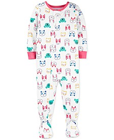 Toddler Girls Cotton Footed Animal Pajamas